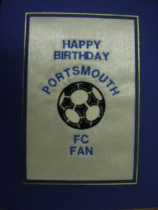 PERSONALISED EMBROIDERED PORTSMOUTH FC CARD - FOOTBALL